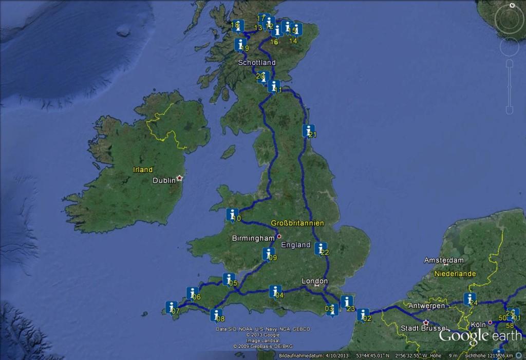 Reiseroute UK